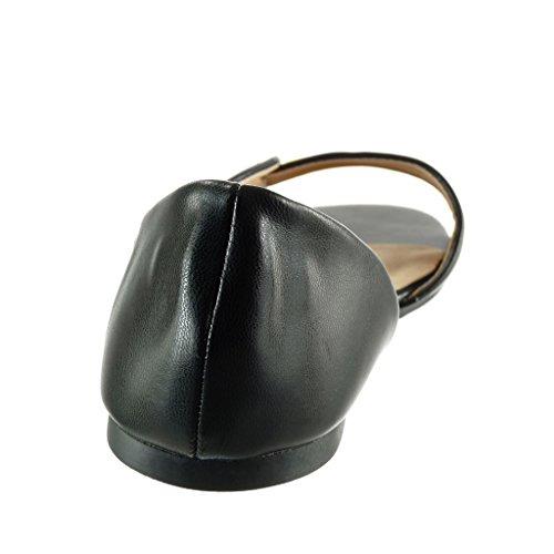 dorado Hebilla de sexy Talón Tacón Zapatillas Negro tanga Sandalias Moda mujer abierto Angkorly ancho 1 CM B1SW8zcgB