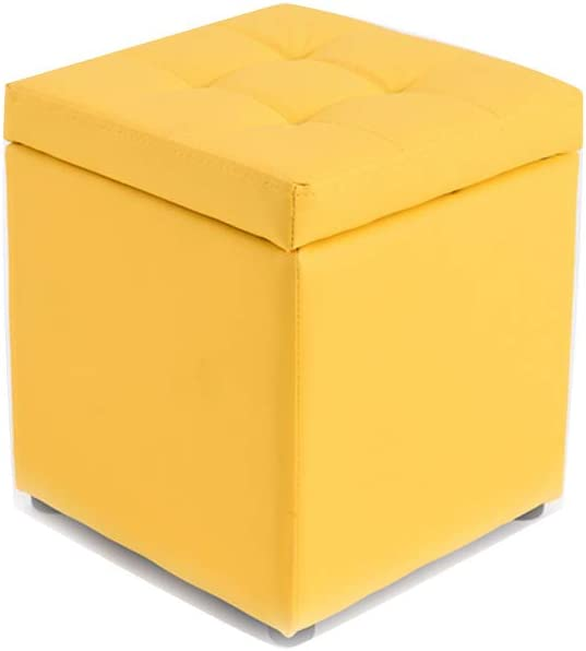 Visual Taste Tufted Leather Square flip top Storage Ottoman Cube Foot Rest for Living Room Bedroom The Door ???-Yellow 303035CM