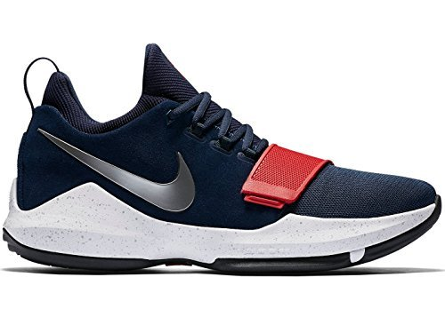 NIKE Men's PG 1 Paul George Basketball Shoes Navy Blue/Red (14) (One Basketball Shoes)