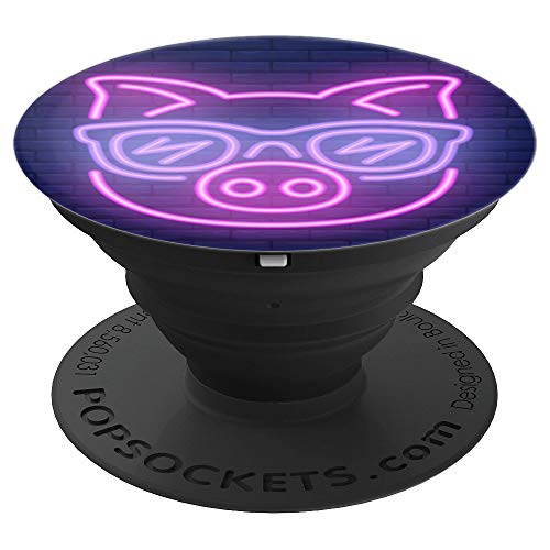 Cute Body By Bacon | Funny Farmer & Pig Lover | Neon Pink - PopSockets Grip and Stand for Phones and Tablets