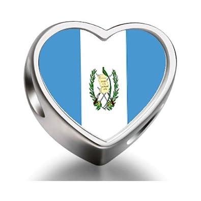 2a9566ca7c13 Bandera de Guatemala de granos del encanto de ajuste corazón Pandora  Chamilia Biagi pulsera de cuentas encanto  Amazon.es  Joyería