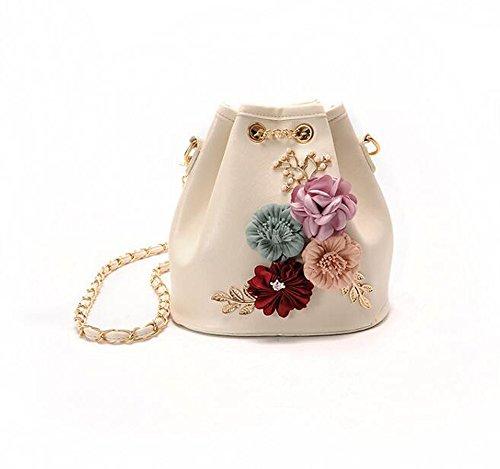 MDRW-Bolso De Señora La Nueva Nueva Moda Flores Bucket Bag Todos Coinciden Cadena Bolsa Bolsa De Hombro Tendencia,Black white
