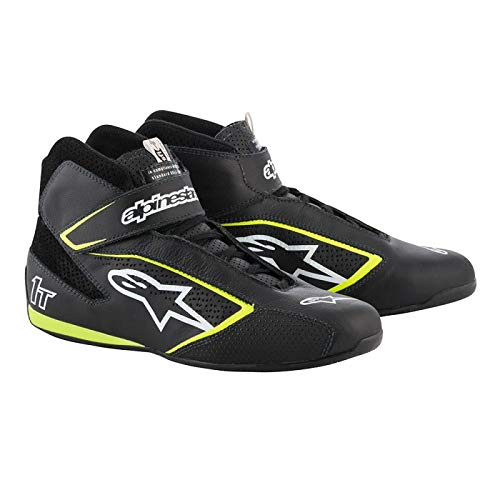 Alpinestars Tech 1-T Driving Shoes FIA - 2019 Model - Black/White/Yellow - Size 10.5 (2710119-125-10.5)