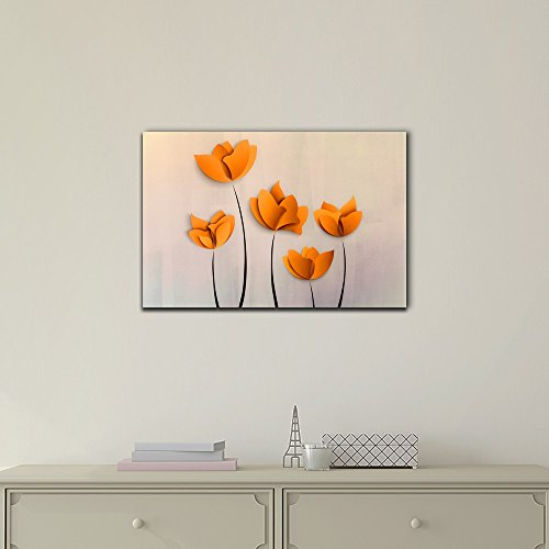 Abstract Orange Flowers on Grey Background