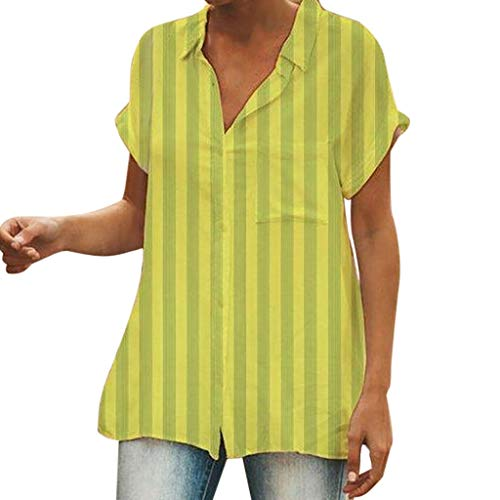 Tantisy ♣↭♣ Womens Waffle Knit Tunic Blouse Short Sleeve V Neck Button-Down Henley Shirts Striped Plain Daily Casual Top Green ()