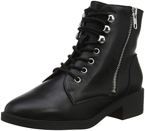 Daria black Donna Nero Stivali Foot Look Wide Combat 01 New 8ORwq1