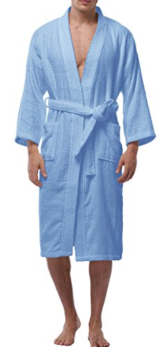 VOGMATE Men's Long 100% Turkish Cotton Kimono Robe Lightweight Terry Spa Bathrobe With Pockets by VOGMATE