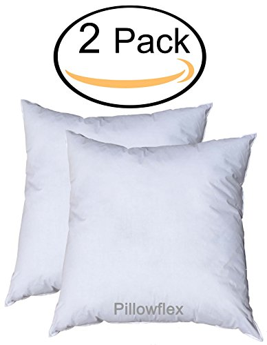 Pillowflex Premium Polyester Filled Pillow Form Inserts - Machine Washable - Square - Made In USA (12x12 Pack of 2) - Standard Square Pillow