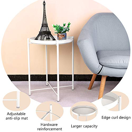 EKNITEY End Table,Folding Metal Side Table Waterproof Small Coffee Table Sofa Side Table with Removable Tray for Living Room Bedroom Balcony and Office (White)