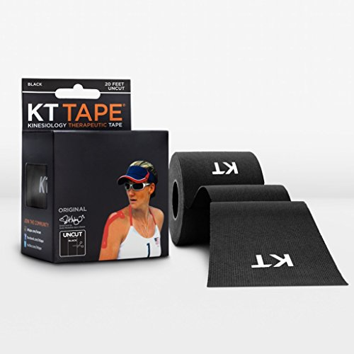 KT TAPE Original Cotton Elastic Kinesiology Therapeutic Sports Tape, 16 Ft Uncut Roll, Breathable, Free Videos, Pro & Olympic Choice, Black