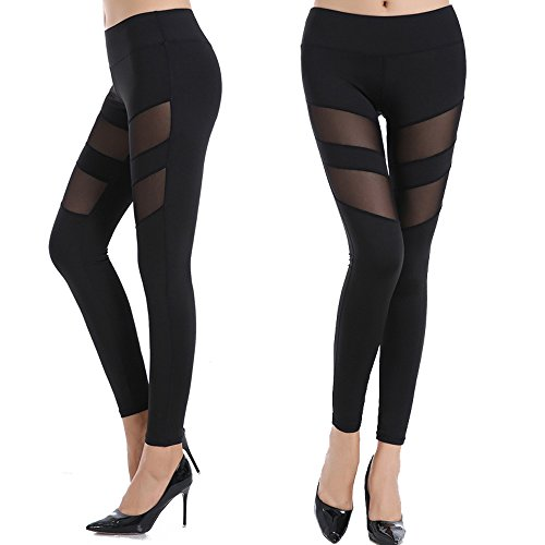 CROSS1946 Sexy Women's High Waist Sexy Skinny Patchwork Thigh Mesh Yoga Pants Leggings Soft Fitness Capris (Skinny Mesh)