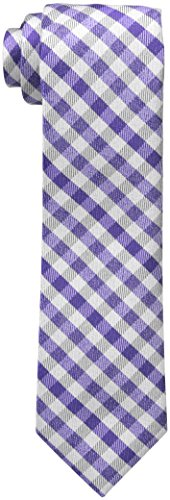 Perry Ellis Men's William Check Tie, Purple, One - Check William
