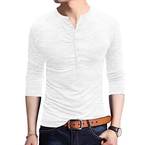 JXEWW Henley Men Tshirts Polo Cotton Long Sleeves Slim Fit Vneck Button Tees White XXL