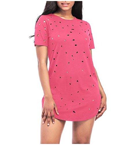 La Clubwear Des Femmes Coolred Détruit Manches Courtes Mini Robe Tops Blouse Chemise Rose Rouge