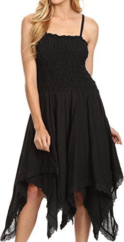 - Sakkas 2058 - Ella Smocked Bodice Spaghetti Strap Double Layered Dress - Black - OS