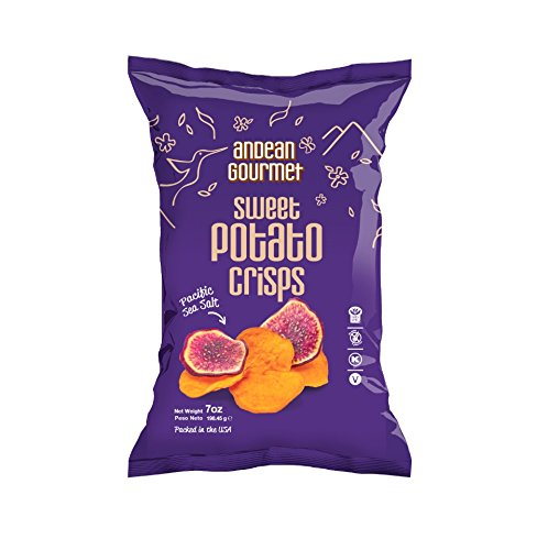 Andean Gourmet Sweet Potato Crisps 7 oz (Pack of 12) Gluten-Free Nut-Free Lactose-Free Kosher Certified Paleo Friendly Snack by Samai