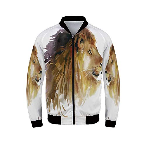 (Animal Men's Long Sleeve Jacket,Lion Head Portrait King of The Forest Wild Creature Power Watercolor Art Decorative for Sportswear,L)