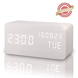 Wooden LED Digital Alarm Clock, Displays Time Date Week And Temperature, Cube Wood-shaped Sound Control Desk Alarm Clock for Kid, Home, Office, Daily Life, Heavy Sleepers (White)