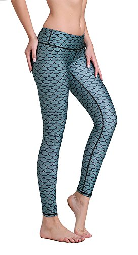 Girl's Fish Scale Mermaid Print Gym Wear Leggings with High Compression 20M