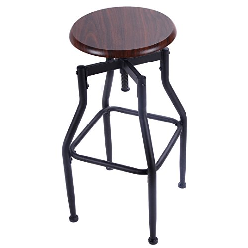 Classic Style Bar Stool Metal Design Solid Wood Top Height Adjustable 360 Degree Swivel Chair/Tan - Hk Image Name