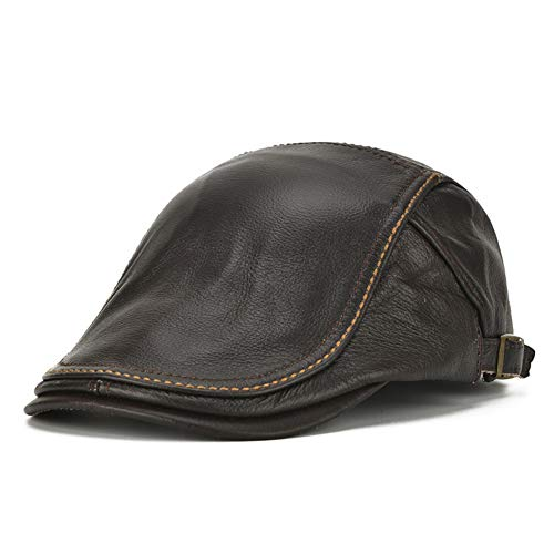 HSRT Mens Genuine Cowhide Leather Beret Hat Solid Casual Warm Forward Caps AdjustableCoffee