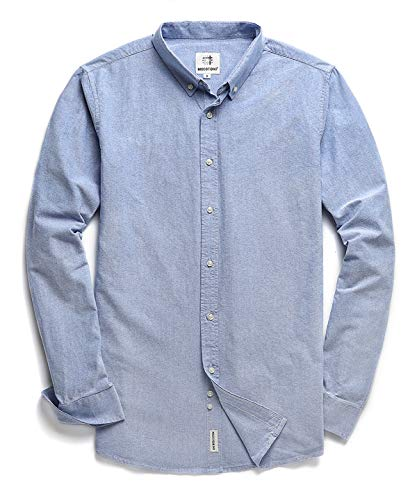 Men's Oxford Long Sleeve Button Down Casual Dress Shirt Sapphire X-Large