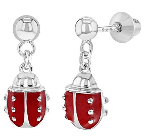 925 Sterling Silver Red Enamel Ladybug Screw Back Dangle Earrings Girls Teens