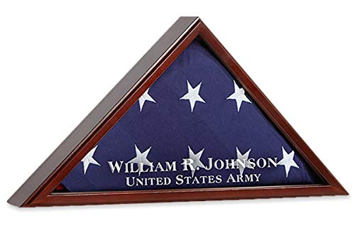 American Flag Display Case for Funeral Burial Flag Shadow Box Personalized Etched Glass | Holds 5' X 9.5' Folded Military Veteran Memorial Flag