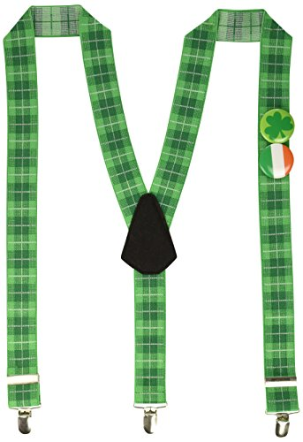 St. Patrick's Day Green Fun Suspenders With Buttons   Party -