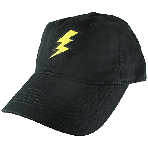 AffinityAddOns Lightning Flash Dad Hat, Black Baseball Cap, Embroidered Patch