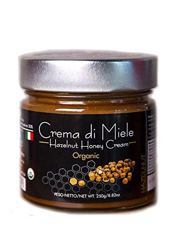 Organic Hazelnut Honey Cream Delicious Organic honey blended with hazelnuts paste 250 g - 8.81 oz