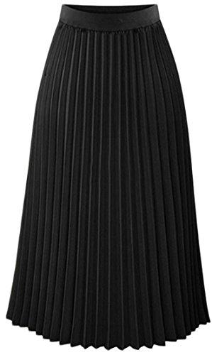 Blosom Women's High Waist Basic Solid Color Swing Pleated Midi Skirt Black M supplier