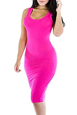 Merry21 Womens Scoop Neck Sleeveless Knee Length Casual Bodycon Tank Dress