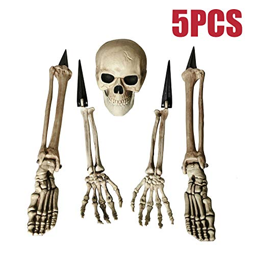 Skeleton Hands And Feet (ALLADINBOX Halloween Creepy Graveyard Décor Groundbreaker Realistic Skeleton Bones and Skull(Include Skull, Hands, Legs, arms and feet with Lawn Stakes) for Outdoor Party, Life)