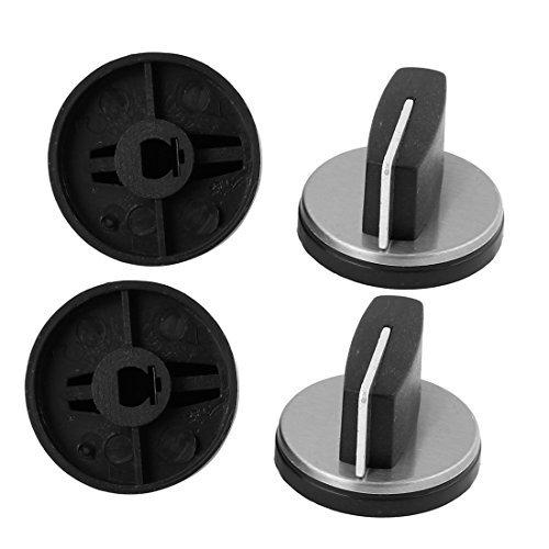 Price comparison product image DealMux 4 Pcs Kitchen Cooktop Round Shape Gas Range Stove Knob Black Plastic