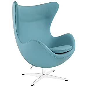 Modway Glove Leather Lounge Chair in Baby Blue