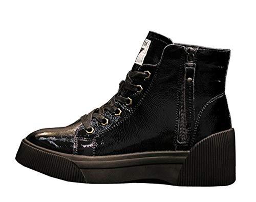 Chaussures Chaud Lacets Bottines En Plateforme Haut Brinny Boots Hiver Casual Plates Cuir Femme Bottes Martin Automne Noir À qSw1R6