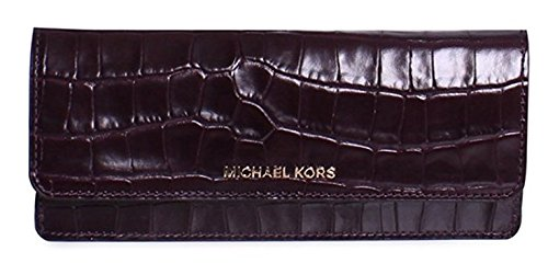 Michael Kors Jet Set Embossed Leather Flat Wallet in Damson by Michael Kors