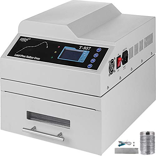 Happybuy Reflow Oven T937 110V Reflow Soldering Machine 2300W 300 x 310 mm Professional Infrared Heater Soldering Machine Automatic Reflow Machine (T937 110V)