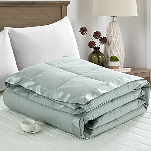 puredown Lightweight Natural White Down Blanket for Bedding Satin Weave 100% Cotton Blue, Full/Queen Size