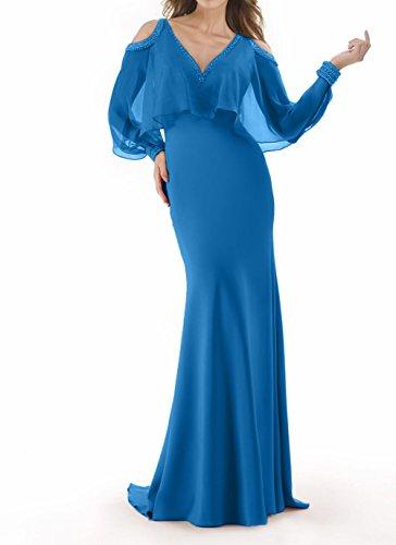 Meerjungfrau Charmant Blau Damen etuikleider Abschlussballkleider Promkleider Chiffon Elegant Brautmutterkleider vavqC