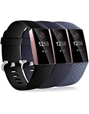 Dirrelo 3 Pack Bandjes Compatibel met Fitbit Charge 3/Fitbit Charge 4 voor Dames en Heren, Zachte Siliconen Verstelbare Vervangende Sportarmband voor Fitbit Charge 3 SE,S+Zwart+Donkerblauw+Blauwgrijs