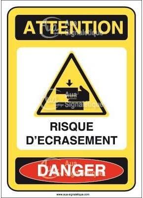 75x105 mm Vinyl adh/ésif AUA SIGNALETIQUE AI Panneau Attention Risque d/écrasement Danger