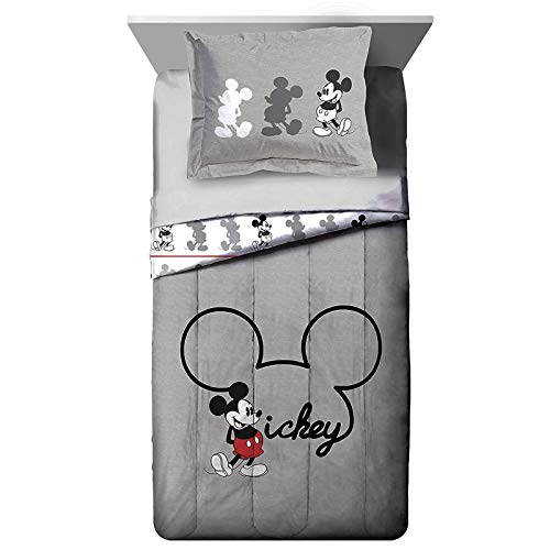 Jay Franco Disney Mickey Mouse Jersey Twin/Full Comforter - Super Soft Kids Reversible Bedding Features Mickey Mouse - Fade Resistant Polyester Includes 1 Bonus Sham (Official Disney Product) ()