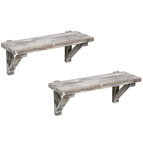 Rustic Torched Wood Wall-Mounted Storage Display Shelves with Wooden Brackets, Set of 2 by MyGift (Image #5)