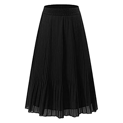 NAMETSHE Women's Chiffon High Waist Pleated Skirt A-line Maxi Skirts
