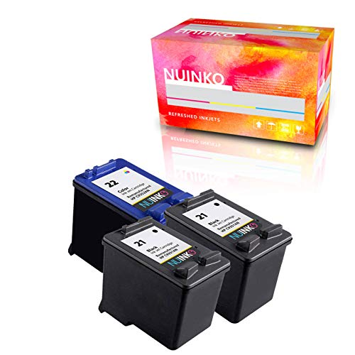 NUINKO 3 Pack Remanufactured HP 21 HP 22 Ink Cartridge Black and Color C9351WN C9352WN for HP Deskjet F4180 F380 F2280 F2180 D1560 D1460 D2460 PSC 1410 OfficeJet J3680 Printers ()