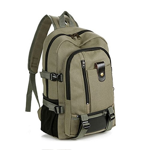 15.4 Inch Backpack Green Canvas - Laptop Backpack, Lightweight Travel Daypack Up to 17 Inch, College Backpacks with Computer Laptop Compartment for Men and Women Army Green