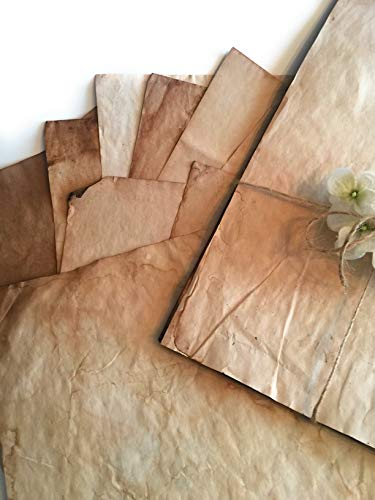 Stationery Paper - Old Fashion Hand dyed,Tea Stained,Aged Classic Vintage Antique Design, Double Sided - Perfect for Printing, Copying,Weddings, Crafting, Certificate, Invitations, 8.5 x 11 inches ()