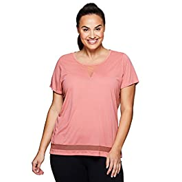 RBX Active Women's Plus Size Running Workout Short Sleeve Yoga Top